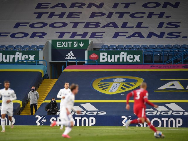 Leeds United displayed a banner at Elland Road on Monday night opposing the European Super League plans. Pic: Getty
