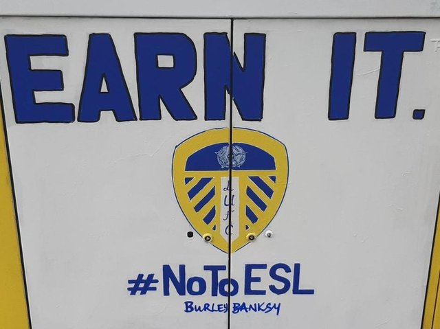 No To ESL: Burley Banksy aka Andy McVeigh has painted a fresh mural hitting out at plans for the European Super League