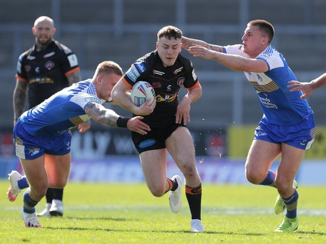 Niall Evalds breaks through to score for Tigers against Leeds  this month. Picture by Richard Sellers/PA.