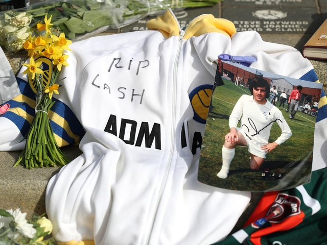 Tributes left at Elland Road last month in honour or Leeds United legend Peter Lorimer. Pic: Getty