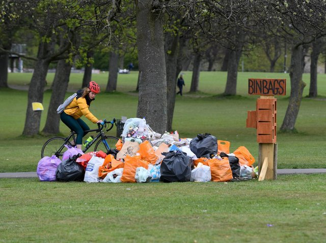 Litter left on Woodhouse Moor after a gathering on Tuesday (photo: Tony Johnson).