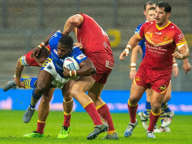 Muizz Mustapha, who made his Super League debut for Rhinos against Catalans last September, is in Hull KR's squad for Friday. Picture by Bruce Rollinson.