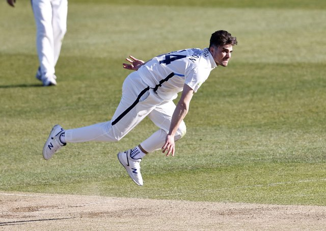 Yorkshire's Jordan Thompson bowls during Day 2 of the LV=Insurance County Championship game between Kent and Yorkshire (Picture: Max Flego)