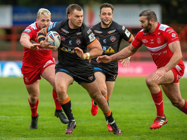 Cheyse Blair on the attack for Tigers in this month's Cup win at Hull KR. Picture by Bruce Rollinson.