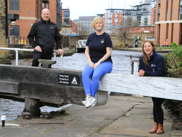 Pictured (left to right): Richard Hand, site manager at GRAHAM, Holly Buckley, community manager at Leeds Building Society and Nicola Christian, business and corporate engagement partner at Canal & River Trust.