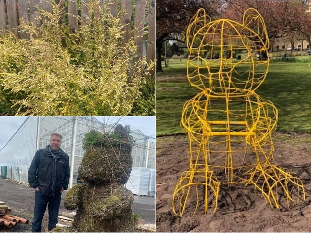 Pudsey residents are delighted after the much loved 'Pudsey Bear' structure was returned to the park to be replanted as a new feature.