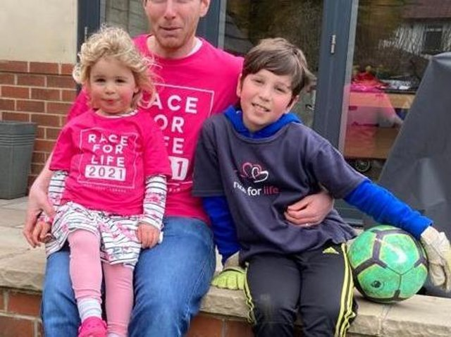 Andrew Shippey with daugher Evie, three, and son Toby, 10.