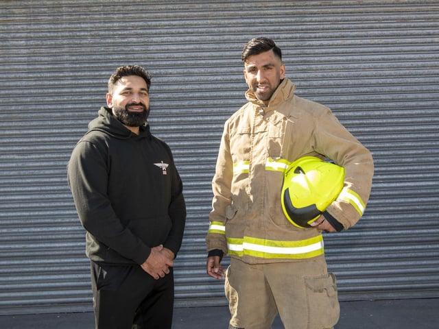 Leeds Fire Station firefighter Hassan Abrar and his friend Azam Ahmed Khan.