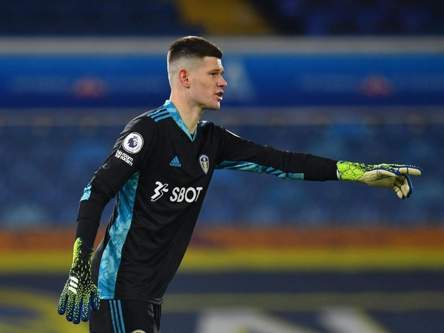 POINTING THE WAY: Leeds United goalkeeper Illan Meslier during Monday night's 1-1 draw against Liverpool at Elland Road. Photo by PAUL ELLIS/POOL/AFP via Getty Images.