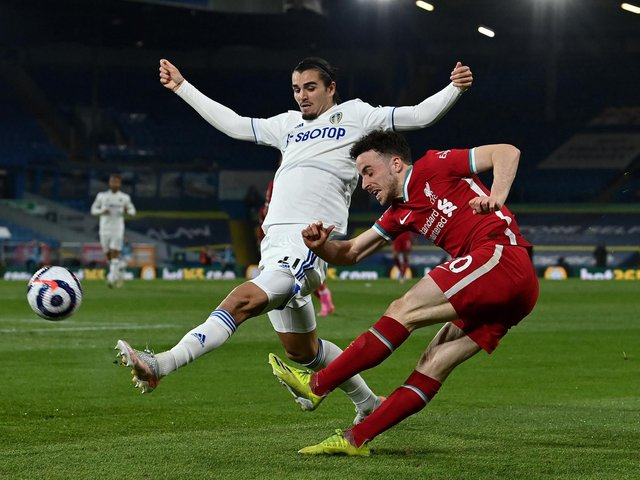 COMMON SENSE PREVAILS: Says Leeds United defender Pascal Struijk, left, pictured challenging Liverpool's Diogo Jota in Monday's Premier League clash at Elland Road. Photo by Paul Ellis - Pool/Getty Images.