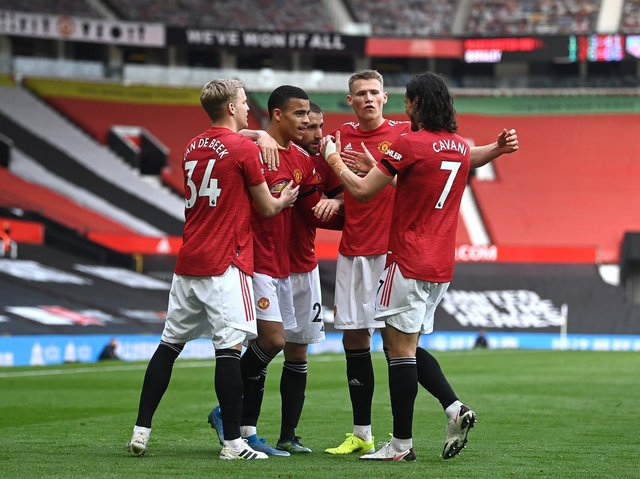Manchester United celebrate at Old Trafford. Pic: Getty