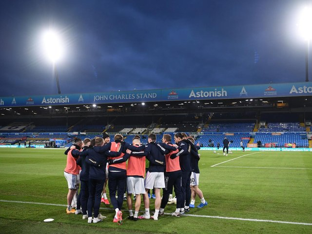 Leeds United in a huddle during a warm-up at Elland Road. Pic: Getty