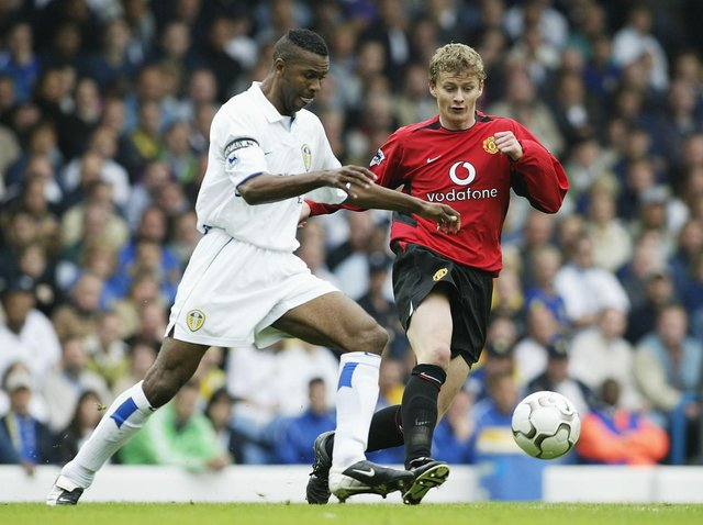 Leeds United legend Lucas Radebe in action against Manchester United in 2002. Pic: Getty