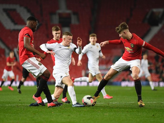Former Leeds United youngster Max McMillan in action for the club against Manchester United. Pic: Getty