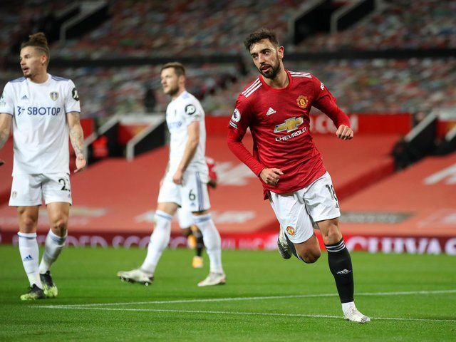 DANGEROUS: Bruno Fernandes, who tops both the Manchester United goalscoring and assists charts, is favourite to net first against Leeds United in today's clash at Elland Road. Photo by Nick Potts - Pool/Getty Images.