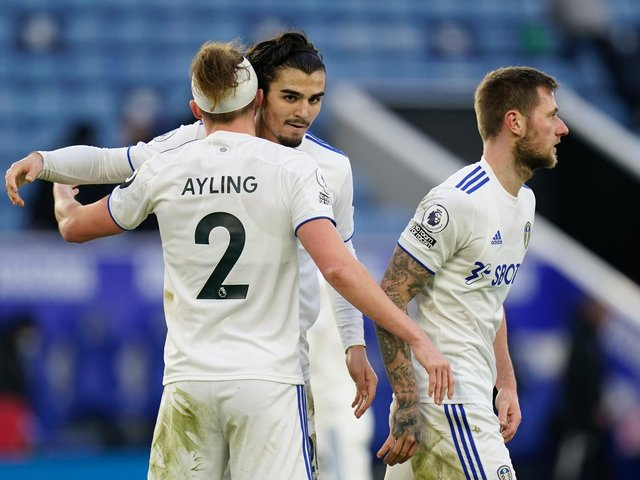 CONFIDENCE: From Leeds United defender Pascal Struijk, centre, pictured embracing Luke Ayling after January's 3-1 victory at Leicester City. Photo by Tim Keeton - Pool/Getty Images.