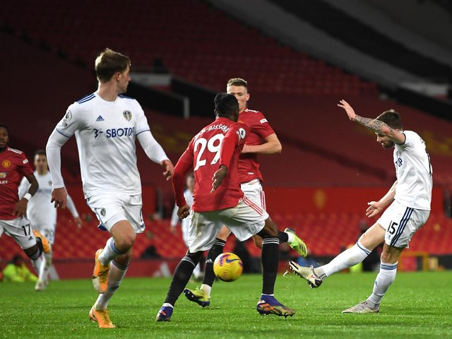 LESSONS LEARNED: By Leeds United in December's 6-2 defeat at Manchester United, pictured, in which Stuart Dallas, right, netted a fine strike for the Whites. Photo by Michael Regan/Getty Images.