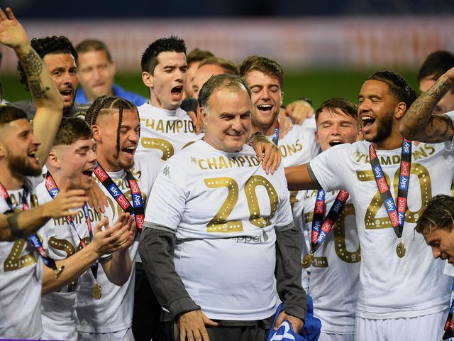 FIRST ACHIEVEMENT - Marcelo Bielsa led Leeds United to the Championship title before guiding them to 10th in the Premier League, with six games remaining. Andrea Radrizzani says they're currently in talks over a new deal. Pic: Getty