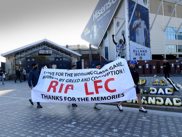 JOINT PROTEST - Liverpool fans joined Leeds United supporters outside Elland Road to protest the European Super League plans. Pic: Simon Hulme
