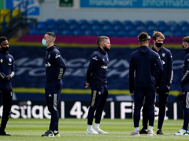 THE BIG ONE: Leeds United's players check out the Elland Road pitch prior to Sunday's Premier League clash against Manchester United. Photo by Jon Super - Pool/Getty Images.