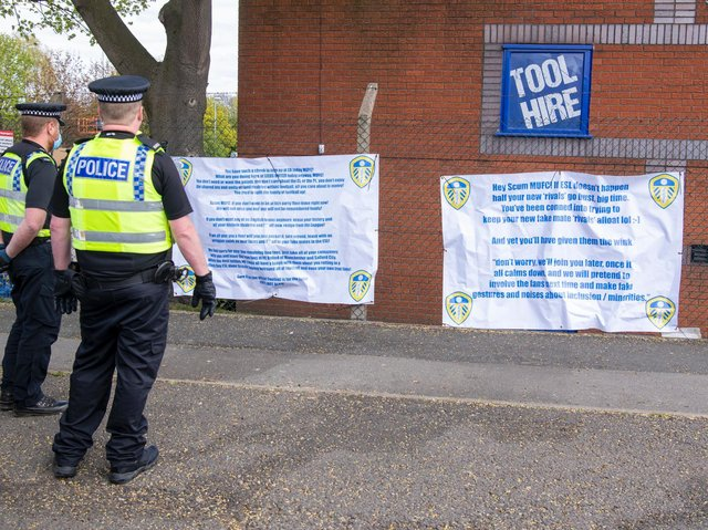 A number of banners were placed at Elland Road ahead of kick-off. Pic: Tony Johnson