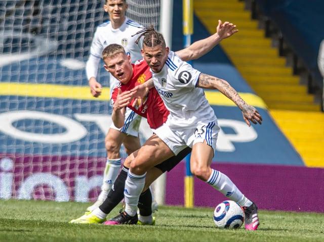 Leeds United midfielder Kalvin Phillips in action against Manchester United. Pic: Tony Johnson