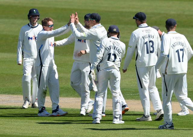 Yorkshire spinner Dom Bess, pictured second left, enjoyed second-innings figures of 6-53 to help the county complete an impressive County Championship victory over Sussex at Hove. Bess also picked up a wicket in the first innings. Picture: Mike Hewitt/Getty Images