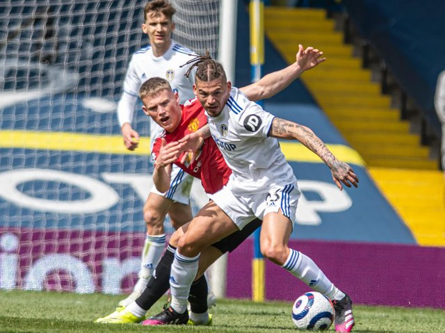 RIGHT BALANCE - Leeds United midfielder Kalvin Phillips got the level of physicality just right against Manchester United,  in the 0-0 draw at Elland Road. Pic: Tony Johnson