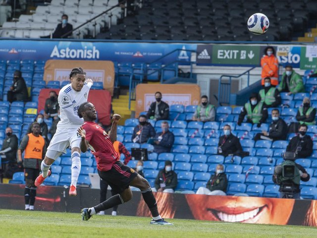 CLOSE: Leeds United winger Helder Costa's deflected shot flies over the bar in Sunday's goalless draw against Manchester United at Elland Road. Photo by Tony Johnson.