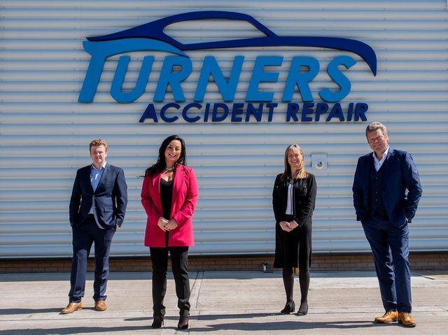 Thomas Turner with Emma Digby, partner at Ward Hadaway, Susan Turner and Stuart Turner of Turners Accident Repair.