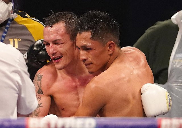 NO LEEDS REMATCH:   Josh Warrington congratulates Mauricio Lara after his defeat to the Mexican in February. Picture: Dave Thompson