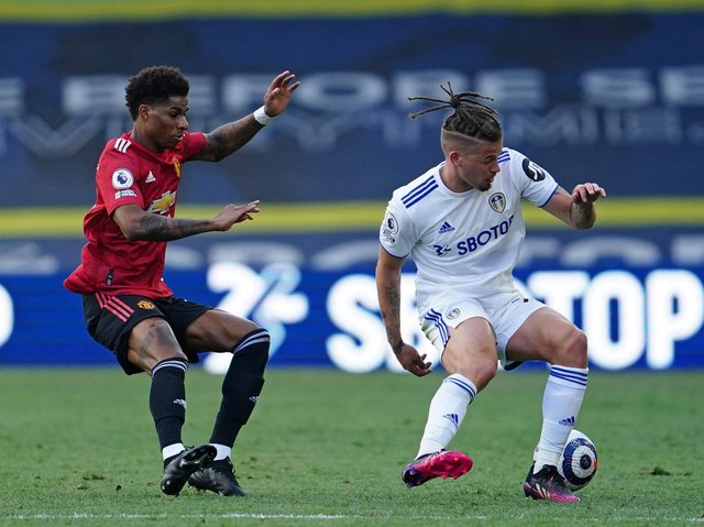 Leeds United midfielder Kalvin Phillips in action against Manchester United. Pic: Getty