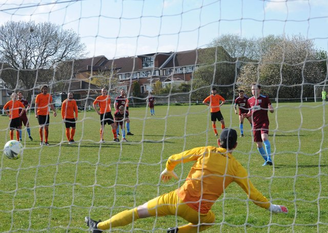 West Yorkshire League Division 1 table toppers, Rawdon OB, enjoyed a 2-1 win over visitors East End Park with a late penalty from Oliver Nightingale. Picture: Steve Riding.