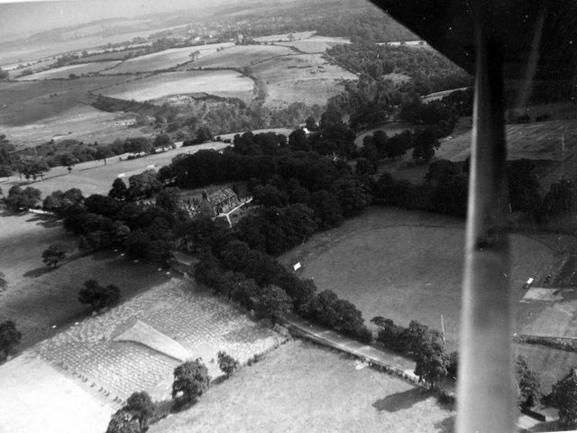 An aerial view of Adel Church in September 1946.