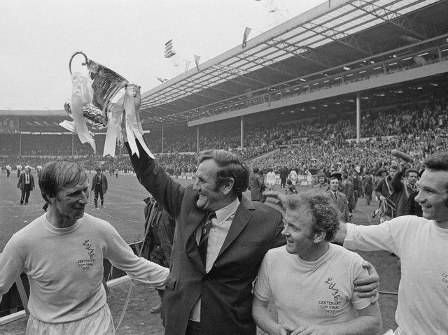 Former Leeds United manager Don Revie celebrates winning the 1972 FA Cup. Pic: Getty