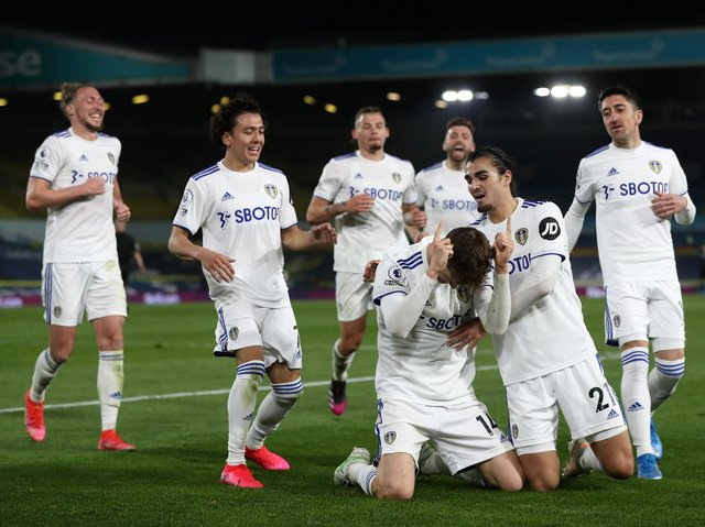SETTLED IN - Diego Llorente, celebrating his recent goal against Liverpool with his Leeds United team-mates, is an introvert according to Patrick Bamford. Pic: Getty