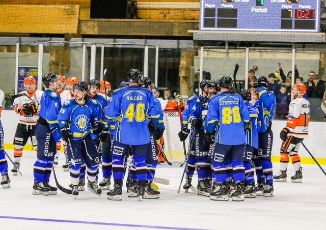 END OF AN ERA: Leeds Chiefs celebrate their overtime win against Telford Tigers at Elland Road last February. Picture courtesy of Mark Ferriss
