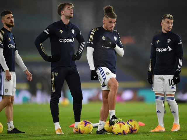 Kalvin Phillips warms up with his Leeds United teammates. Pic: Getty