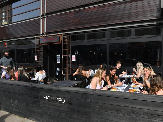 The outdoor seating area at Fat Hippo in Headingley