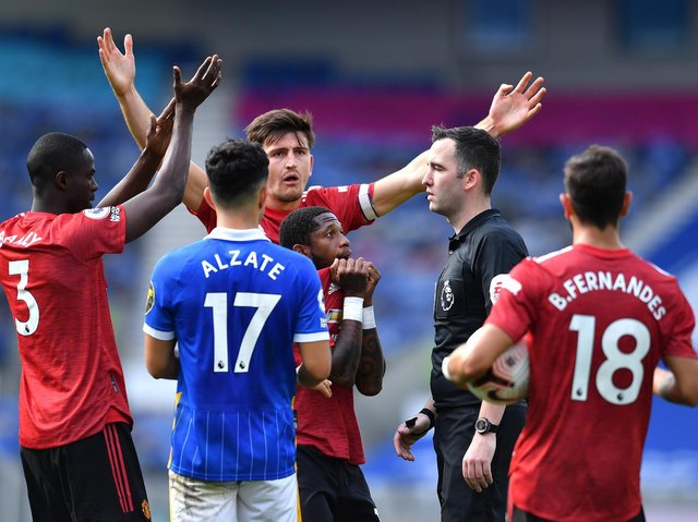 LATE DRAMA - Chris Kavanagh had blown for full-time in Brighton's game against Manchester United but after a VAR intervention Bruno Fernandes was able to win the game with a penalty. Pic: Getty