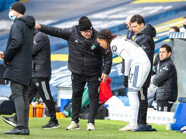 Leeds United winger Helder Costa takes on instructions from Leeds United boss Marcelo Bielsa. Pic: Bruce Rollinson