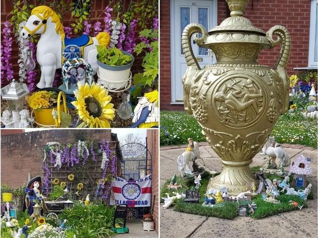 Kathy Williams' Leeds United themed garden.