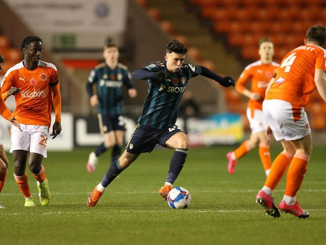 Leeds United forward Sam Greenwood in action against Blackpool in the EFL Trophy. Pic: Getty