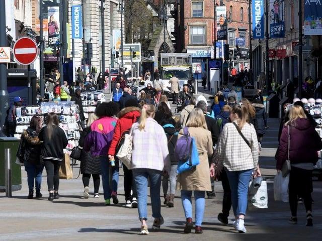 Shoppers in Leeds as lockdown is eased