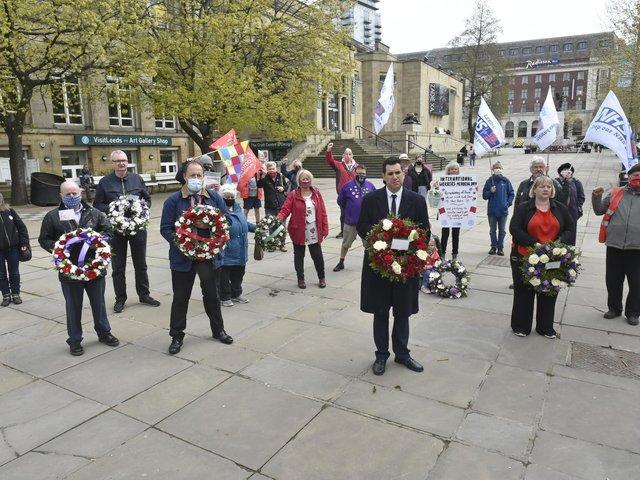The Workers' Memorial Day event at Victoria Gardens in Leeds (photo: Steve Riding).