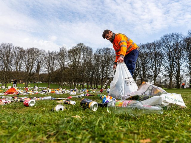 Clean up on Woodhouse Moor in Leeds.