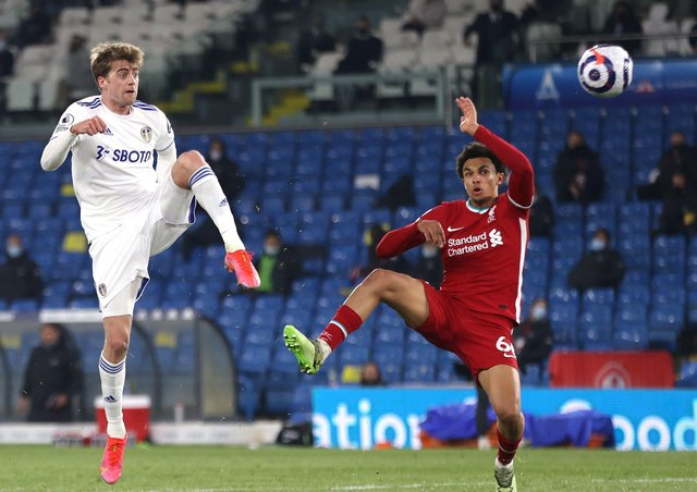 Leeds United striker Patrick Bamford, pictured going close with a shot against Liverpool recently, is due a goal, say fans, and tomorrow could well be the day he breaks his mini drought. Picture: Clive Brunskill/PA Wire.