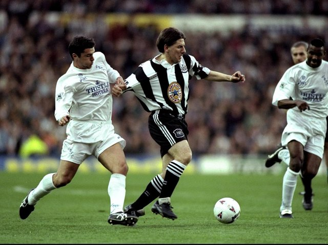 Former Leeds United midfielder Gary Speed in action against Newcastle in 1996. Pic: Getty