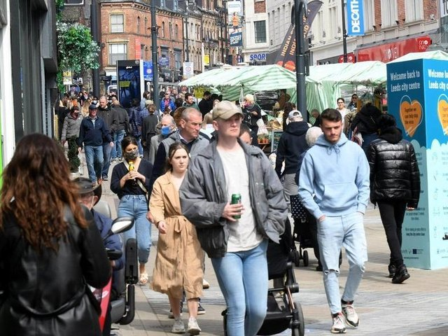 People have been out in Leeds city centre enjoying the sunshine since shops reopened (photo: Gary Longbottom)