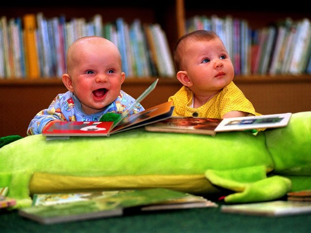 June 1997 and George Edward Garrett (left) and Amy Ruth Holroyd took part in a new scheme at Rothwell Library to encourage pre-school reading.